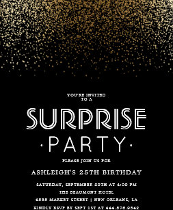 Elegant Gold Confetti Black Surprise Party Invitation Postcard