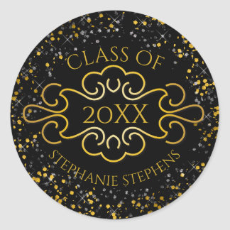 Elegant Gold Confetti Flourish Class of 2017 Name Classic Round Sticker