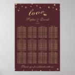 Elegant Gold Confetti Love Burgundy Seating Chart