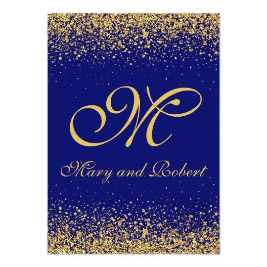 Elegant Gold Confetti On A Royal Blue Background Invitation Zazzle Com