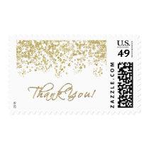 Elegant Gold Confetti Polka Dots - Thank You! Postage