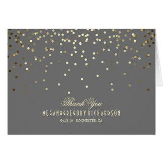 Elegant Gold Confetti Wedding Thank You Card