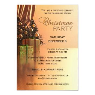 Elegant Gold Corporate Christmas Party Invitation at Zazzle