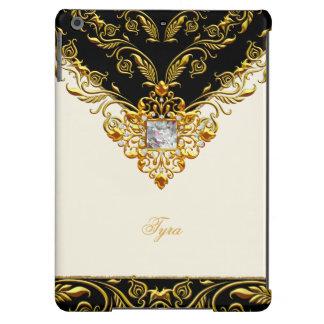 Elegant Gold Cream Black on Gold Monogram 3 iPad Air Cover