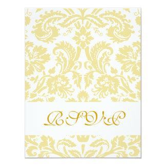 Elegant Gold Cream Damask Wedding RSVP Card