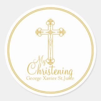 elegant gold cross CHRISTENING party favor label