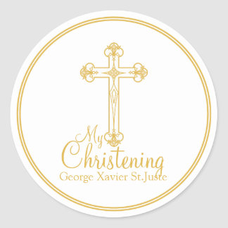 elegant gold cross CHRISTENING party favor label Classic Round Sticker