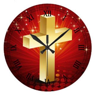 Elegant Gold Cross Christmas Wall Clock