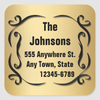 Elegant Gold Custom Name And Address Seal Stickers