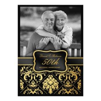Elegant Gold Damask 50th Wedding Anniversary Custom Announcement