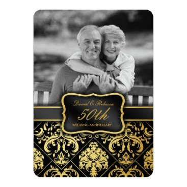 Elegant Gold Damask 50th Wedding Anniversary 5x7 Paper Invitation Card