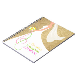 Elegant Gold Damask Bridal Wedding Journal Planner