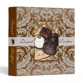 Elegant Gold Damask Chocolate Recipe Binder