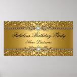 """Elegant Gold Damask Embossed Birthday Banner Poster<br><div class=""""desc"""">Elegant Gold Damask Embossed Look Birthday Party Banner Poster</div>"""