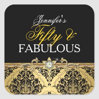 Elegant Gold Damask Fifty and Fabulous 2 Square Sticker