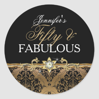 Elegant Gold Damask Fifty and Fabulous Sticker