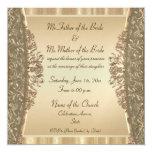 Elegant gold damask fine wedding invitations