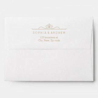 Elegant gold damask liner & return address envelope