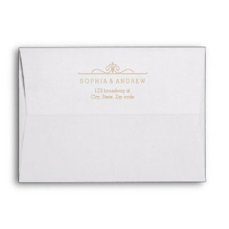 Elegant gold damask liner & return address envelope