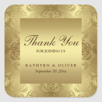 Elegant Gold Damask Pattern Thank You Wedding Square Sticker