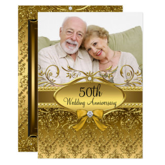 Elegant Gold Damask Photo 50th Anniversary Invite