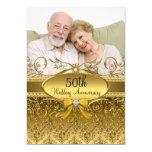 "Elegant Gold Damask Photo 50th Anniversary Invite 5"" X 7"" Invitation Card"