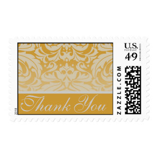 Elegant Gold Damask Thank You Postage Stamp