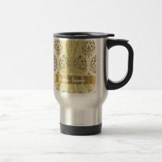 Elegant gold damask travel mug