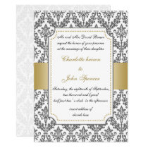elegant gold ,damask wedding invitation