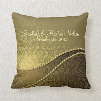 Elegant Gold Damask Wedding Pillow