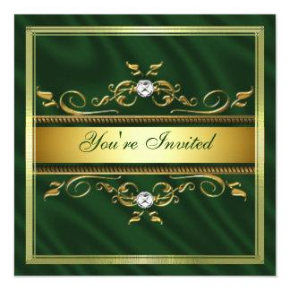 Elegant Gold Dark Green Silk/Satin Invitation Temp