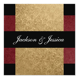 Elegant Gold Dark Red Paisley Engagement Party Card