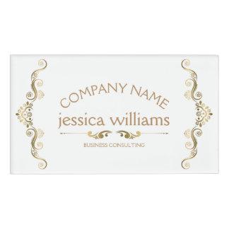 Elegant Gold Decorative Frame Name Tag