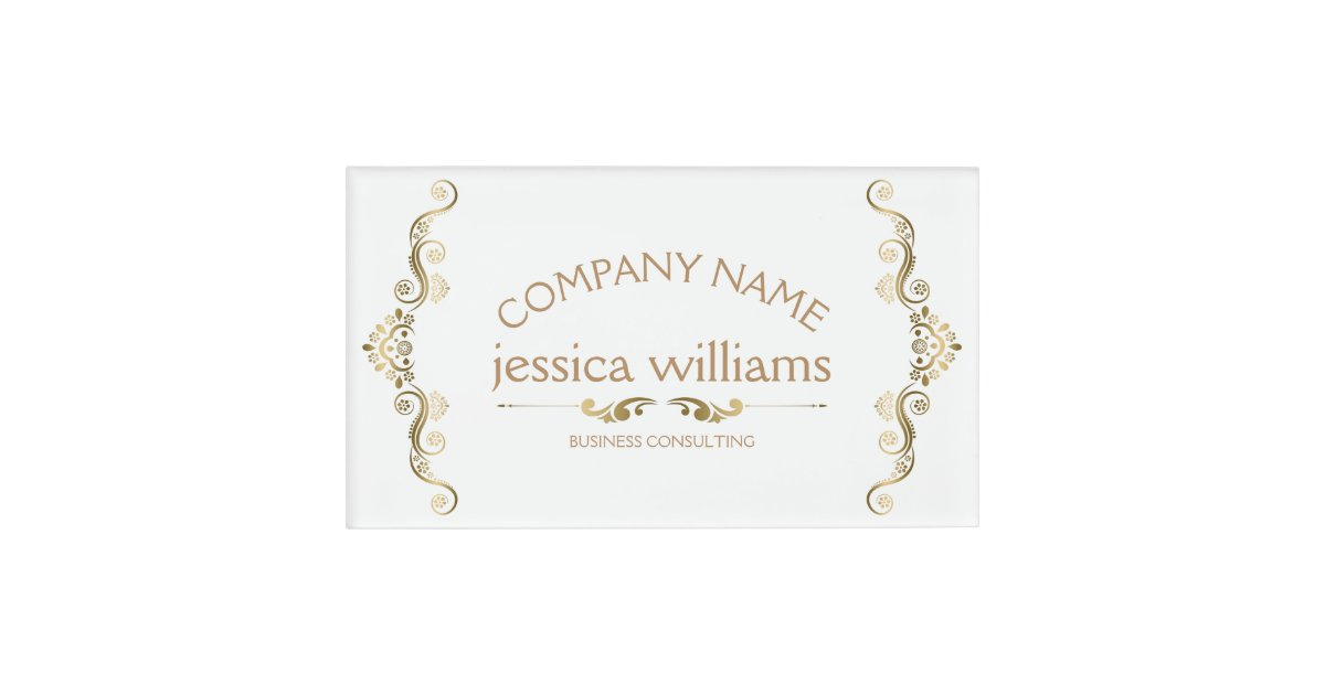 Elegant Gold Decorative Frame Name Tag Zazzle Com