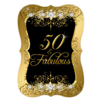 Elegant Gold Diamond 50 Fabulous Invite