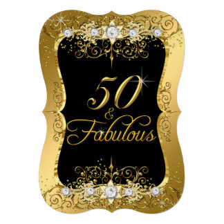 Elegant Gold Diamond 50 & Fabulous Invite