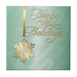 Elegant Gold Diamond Snowflake Green Holiday Tile