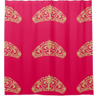 Elegant Gold Diamond Tiaras on Pink Shower Curtain