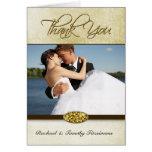 Elegant gold diamond wedding thank you photocard cards