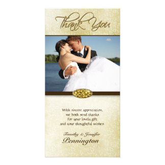 Elegant gold diamond wedding thank you photocard card