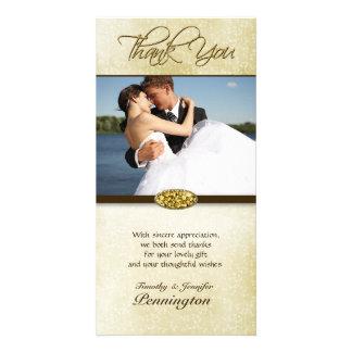 Elegant gold diamond wedding thank you photocard card