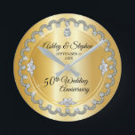 """Elegant Gold Diamonds 50th Wedding Anniversary Round Clock<br><div class=""""desc"""">Opulent elegance frames this wedding anniversary design in a unique scalloped diamond design with center teardrop diamond with faux added sparkles on a gold-tone gradient. Please note that all embellishments are printed and are only made to appear as real as possible in a flat, printed design. This includes any metallic...</div>"""