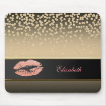 Elegant Gold Diamonds -Glittery Lip-Personalized Mouse Pad
