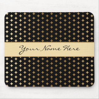 Elegant Gold Diamonds on Black Mouse Pad