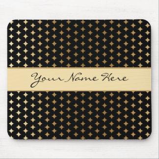 Elegant Gold Diamonds on Black Mouse Pad