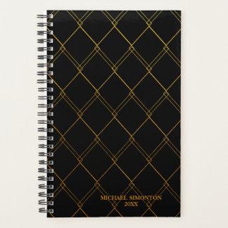 Elegant Gold Diamonds on Black, Personalized Planner
