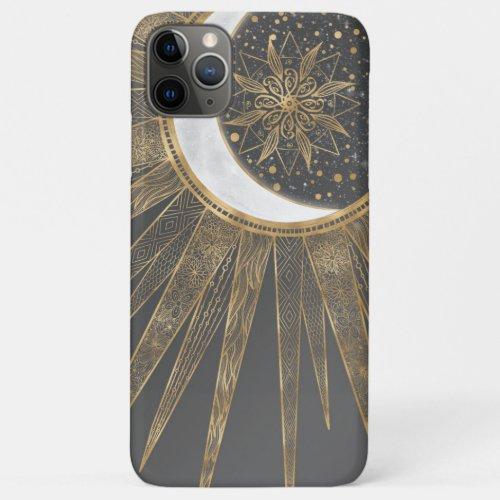 Elegant Gold Doodles Sun Moon Mandala Design Phone Case