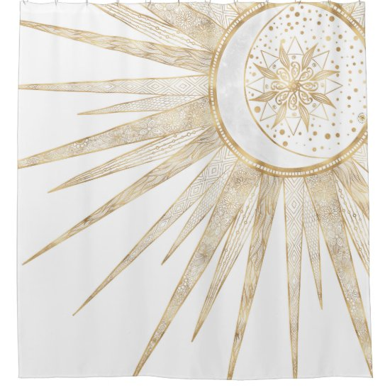 Elegant Gold Doodles Sun Moon Mandala Design Shower Curtain