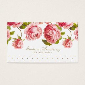Elegant Gold Dots & Pink Roses Custom Business Card