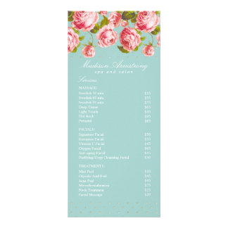 Elegant Gold Dots & Pink Roses Custom Spa Template Rack Card